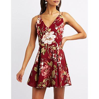 Strappy Floral Skater Dress