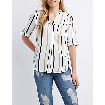 Striped Button Up Top by Charlotte Russe