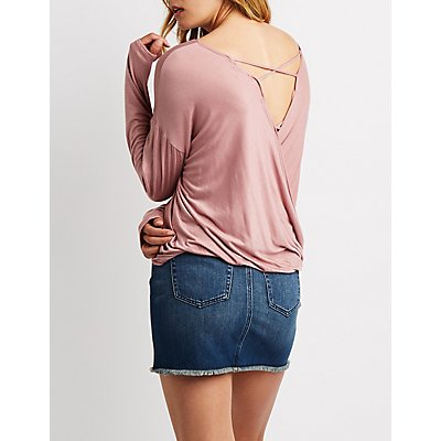 Caged Back Wrap Top
