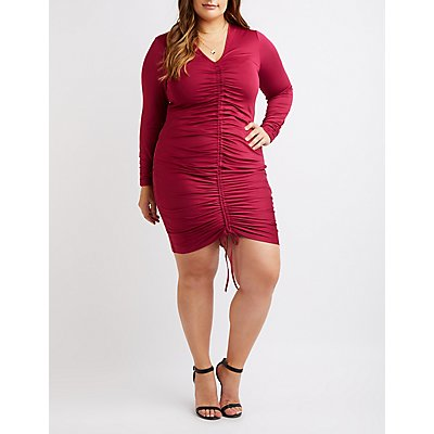 Plus Size Ruched Tie-Front Bodycon Dress
