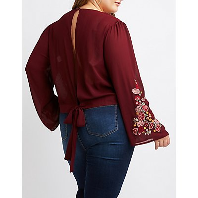 Plus Size Floral Embroidered Open-Back Top