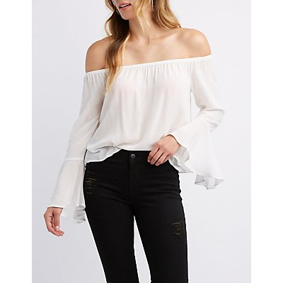 Off-The-Shoulder Bell Sleeve Top