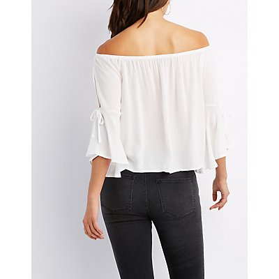 Off-The-Shoulder Split Sleeve Blouse