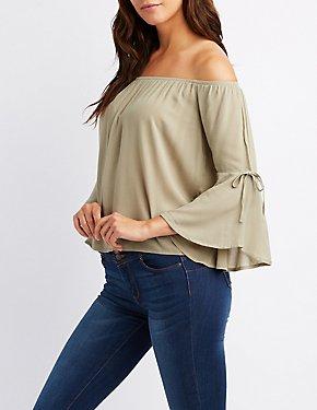 Off-The-Shoulder Split Sleeve Blouse