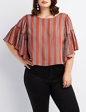 Striped Ruffle-Trim Bell Sleeve Top