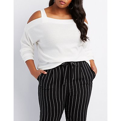 Plus Size Cold Shoulder Ribbed Top