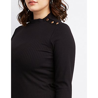 Plus Size Ribbed Button Mock Neck Top