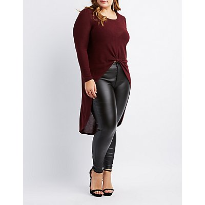 Plus Size Knotted High-Low Tunic Top