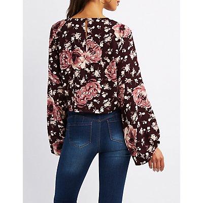 Floral Front-Tie Crop Top
