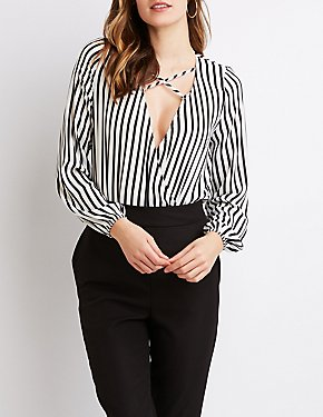 Striped Surplice Bodysuit
