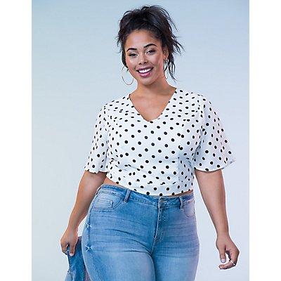 Plus Size Polka Dot Kimono Sleeve Top