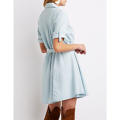 Chambray Button-Up Shirt Dress