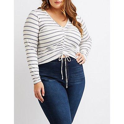 Plus Size Striped Drawstring Crop Top