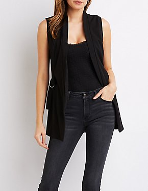 Sleeveless O-Ring Detailed Blazer