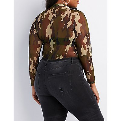 Plus Size Camo Mock Neck Mesh Top