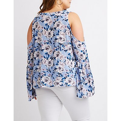 Plus Size Floral Lace-Up Cold Shoulder Top