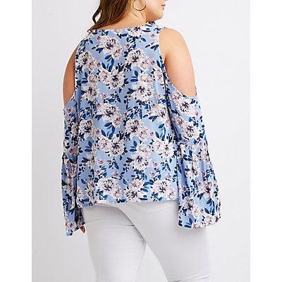 Plus Size Floral Lace-Up Cold Shoulder Top