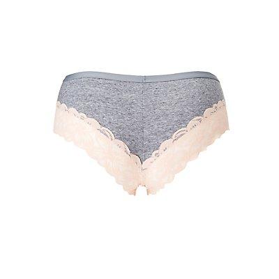 Plus Size Floral-Trim Cheeky Panties