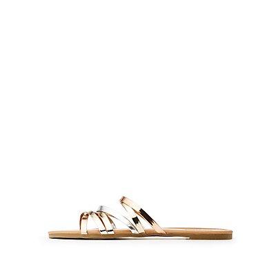 Metallic Criss Cross Slide Sandals