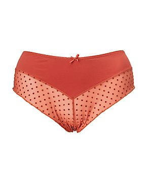 Plus Size Polka Dot Mesh Cheeky Panties
