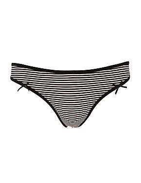 Striped Caged-Back Thong Panties