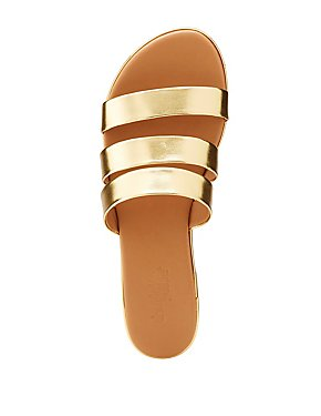 Metallic Faux Leather Band Slide Sandals