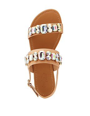 Crystal Slingback Flat Sandals