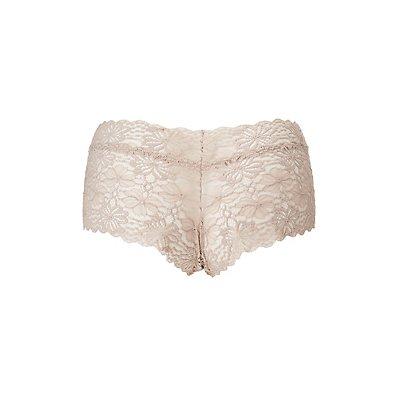 Plus Size Floral Lace Boyshort Panties