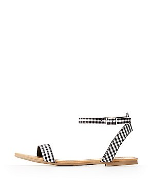 Gingham Ankle Strap Flat Sandals
