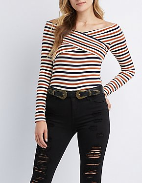 Striped & Ribbed Off-The-Shoulder Top