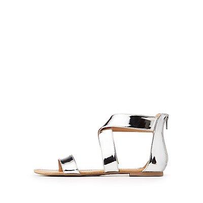 Metallic Ankle Wrap Sandals