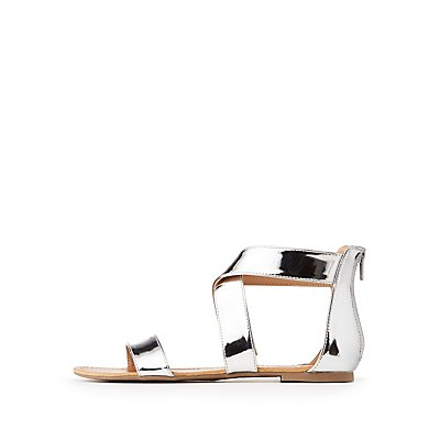 Metallic Ankle Wrap Sandals