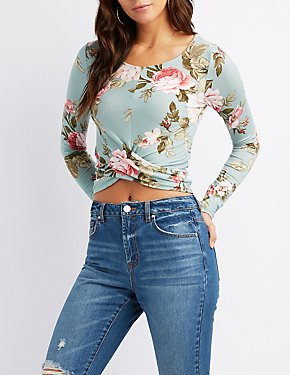 Floral Faux Wrapped Crop Top