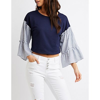 Striped Bell Sleeve Skimmer Top