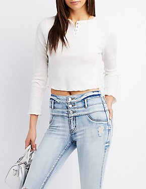 Waffle Knit Henley Crop Top