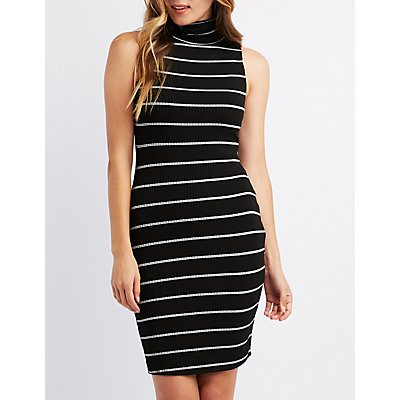 Ribbed Mock Neck Bodycon Sweater Dress
