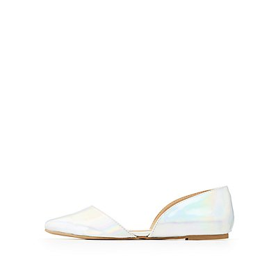Holographic Pointed Toe D'Orsay Flats