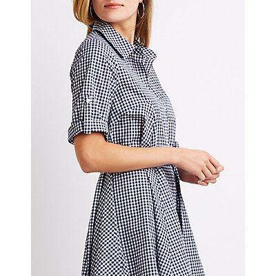 Gingham Print High-Low Dress