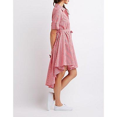 Gingham Print High-Low Dress