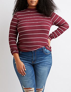 Plus Size Striped & Ribbed Mock Neck Top