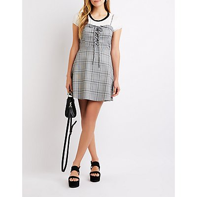 Plaid Lace-Up Skater Dress