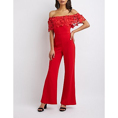 Crochet Off-The-Shoulder Wide Leg Jumpsuit