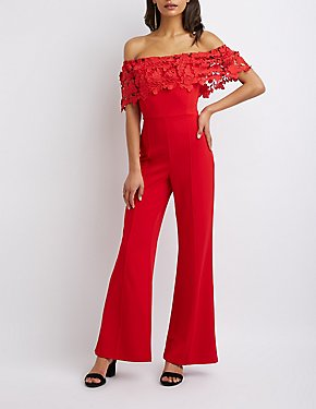 Crochet-Detailed Off-The-Shoulder Wide Leg Jumpsuit