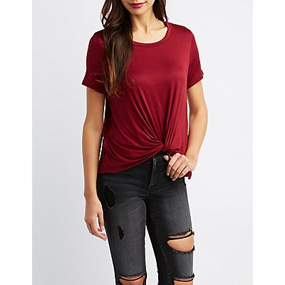 Knotted-Front Boyfriend Tee