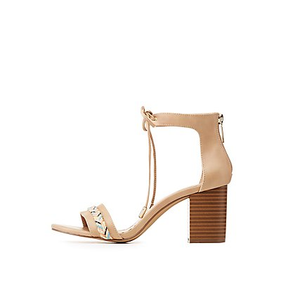 Ankle Strap Bow Block Heel Sandals