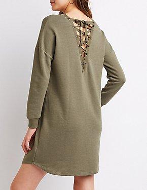 Lace-Up Sweatshirt Dress