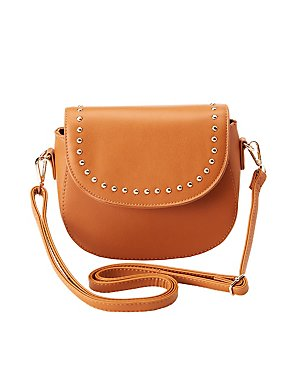 Faux Leather Stud Crossbody Bag