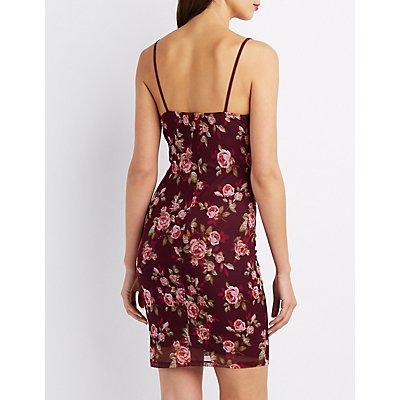 Floral Mesh Overlay Bodycon Dress