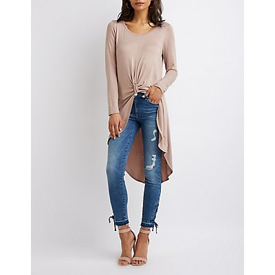 Knotted High-Low Tunic Top
