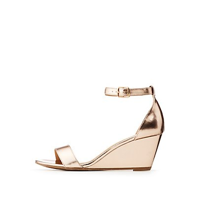 Metallic Ankle Strap Wedge Sandals